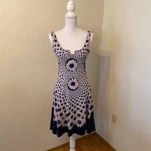Desigual Blue and White Flower Tank Dress. S